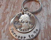25 Years Down and Forevery To Go Wedding Anniversary Key Chain with Heart Stamped Around 1992 Date on Quarter / Gift for Him or Her