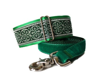 Celtic Martingale Collar and Leash, Green Martingale Collar, Jacquard Martingale Dog Collar, Celtic Dog Collar, Greyhound Collar, Whippet