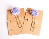 Purple/White Pompom Planner Clip/Traveler's Notebook Bookmark, Silver/Gold Jumbo Paperclip Page Marker Planner Accessory, Planner Supplies