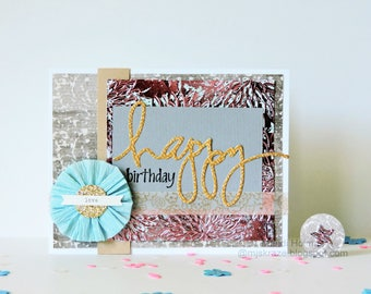 Foiled  Embossed  Floral - Glittered Medallion - Happy Birthday Love Card with Matching Envelope Seal