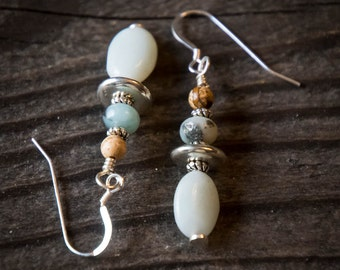 Earrings Amazonite, Picture Jasper and Silver