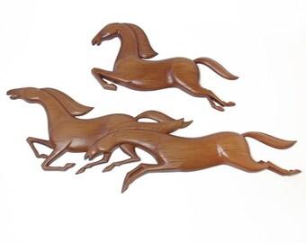 Mid-Century Modern Syroco Molded Plastic Galloping Horses, MCM Wall Art