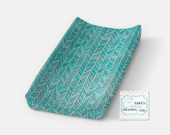 Teal Herringbone Change Pad Cover- Minky Cover- Herringbone Bedding- Herringbone Changing Pad Cover- Minky Cover- Ships in 1-3 Days