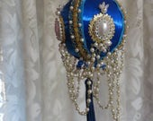 Store Closing SALE Vintage GORGOUS Beaded Christmas Ornament-Walco-Royal Blue-Drop Pearls-Retro