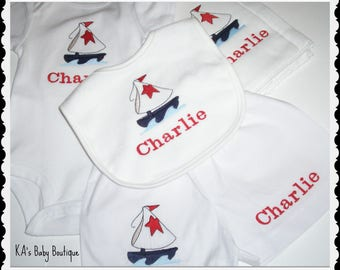 Baby New baby Boy Infant Sailboat Nautical boat personalized boxer diaper cover onesie bib burp cloth set  shower gift