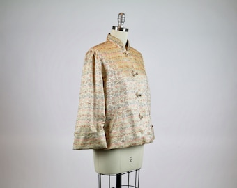 Vintage 1950s Swing Jacket / Silk Jacket / 1950s Chinoiserie / Princess Obolensky Top / Asian Jacket 1950s Dress Coat 1940s Coat Jacket
