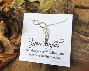 Infinity Angel Wing necklace,Sterling Silver delicate Wing necklace,Memory wing necklace,Bridesmaid gift,rememberance,Wedding bridal Jewelry