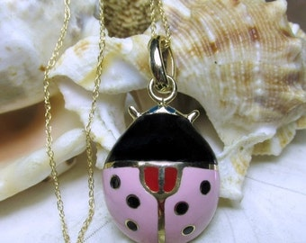 "Valentines Sale 14k Ladybug Necklace Pendant Pink and Black Enamel w 18"" Chain 4.68g"