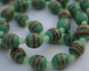 Vintage - Murano Glass - Green tiger stripe - Beads - Necklace - c1960s