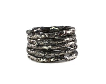 Igneous Stacking Bands - Modern, Sculptural, Industrial, Distressed Metal, Destroyed, Oxidized Silver, Textured, Urban Style, Contemporary