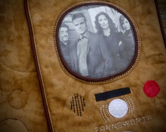 Warehouse 13 inspired, Farnsworth Mug Rug, Geek mug rug, snack mat
