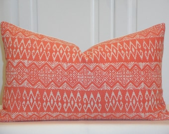 Tribal Decorative Pillow Cover - NEW fabric - Hmong Pillow - Coral - Batik Cotton - Hand Stamped -  Accent Pillow - Toss Pillow