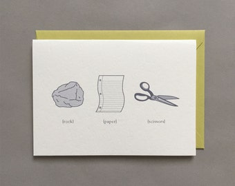 Rock / Paper / Scissors / Funny Friendship / Childhood / Friendship / Relationship / Family / Blank Greeting Card / Card Box