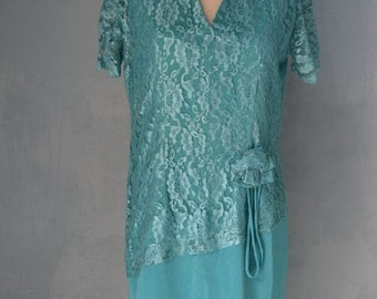 Sale 20% OFF 60s Romantic Emerald Green Lace Dress Free Shipping