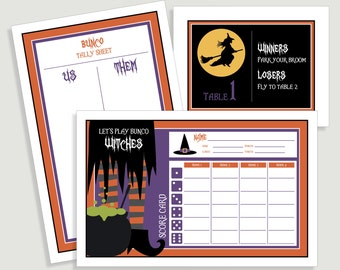 Halloween Bunco Score Card Set - Let's Play Bunco Witches Includes - Us Them Tally Sheet and Table Cards - Instant Download -  #00113H-ID