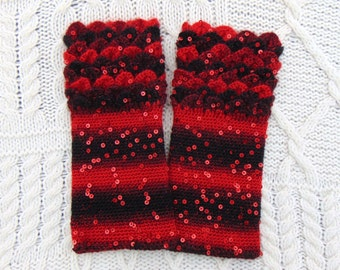 Red Crocodile Stitch Gauntlets Sequin Black and Red Wrist Warmers Fingerless Gloves Crochet
