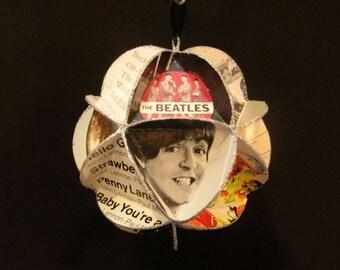 Beatles Ornament Made Of Album Covers Record Jackets Lennon McCartney Starr Harrison