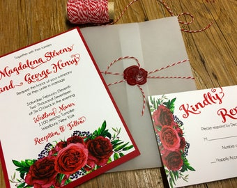 Red Roses Wedding Invitation -- Folder Wedding Invitation -- Vellum Wedding Invitation -- Roses and Vellum Invitation