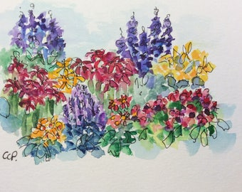 Summer Flower Garden Watercolor Card / Hand Painted Watercolor Card