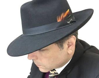 Vintage 1988 Stetson Beaver Jet Black Fedora Gangster Country Western Rare Cowboy Hat 7 1/4