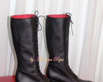 Knee High Victorian booties Victorian shoes Edwardian Boots Victorian Style short heel Boots Ankle Boots