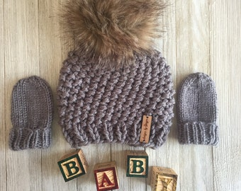 2 Piece - Hand Knitted Baby Hat and Mittens - Knitted Baby Hat with Faux Fur Pom Pom- Knitted Baby Mittens - Thumless Mittens - Baby Hats