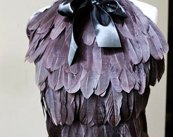 Feather steampunk wedding dress or top