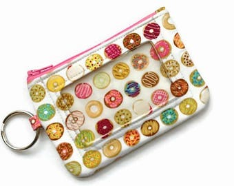 ID Wallet with Keychain/Student ID Holder/Id Name Badge Holder/Keychain Coin Purse/Id Case/Card Case/ Wallet/Doughnuts Off-White Pink Greens