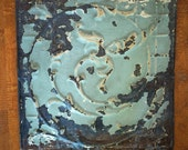 "Antique Ceiling Tile -- 12"" x 12"" -- Rusty Aqua Colored Paint -- Beautiful Vine Pattern Photography Prop"