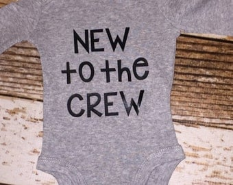 new to the crew baby newborn outfit gift baby shower gift tribe new baby bodysuit babyshower gift