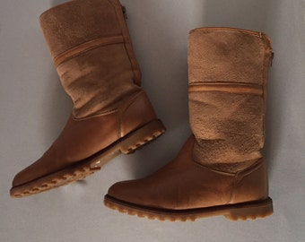 toffe brown leather and suede boots | canadian shearling boots | 8.5