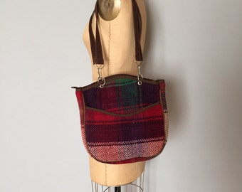 90s plaid woven tote | double handle artist tote