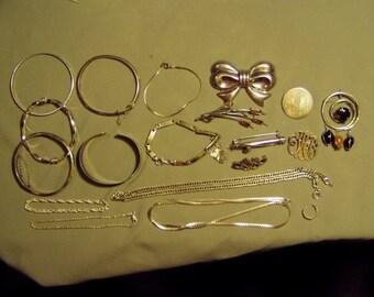 Vintage Sterling Silver Lot 2 Necklaces 6 Pins 10 Bracelets Ear Cuff Not Scrap  8830