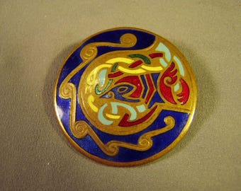 Vintage Tara Ware of Dublin Ireland Celtic Design Bright Enamel Pin Book Of Kells 9178