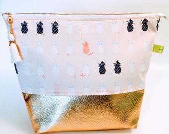 Pineapple and gold cosmetic makeup toiletries travel wash bag, clutch purse, bridal, bridesmaid, two tone, foldover clutch, teacher gift