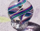 Purple, Blue, and Green Handmade Glass Marble
