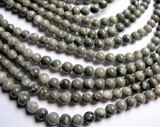 Black Fossil Jasper - 6mm  round beads - 1 full strand - 63 beads - RFG1187