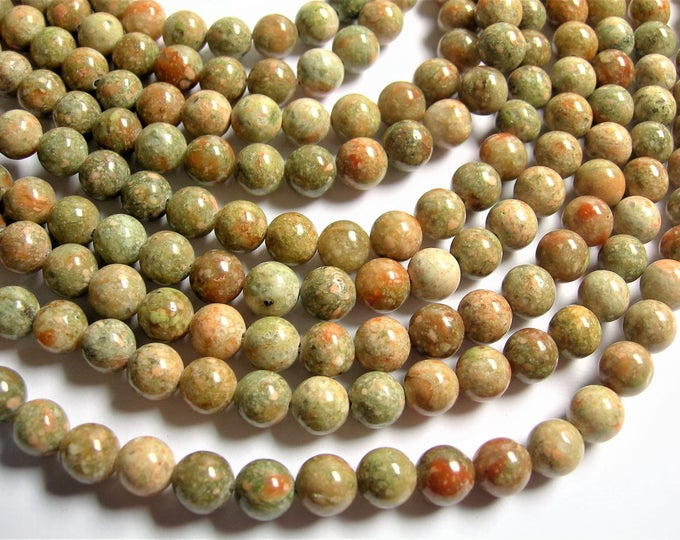 Unakite - 8 mm round beads -  full strand - 47 beads - A quality - Autumn  jasper - RFG1271