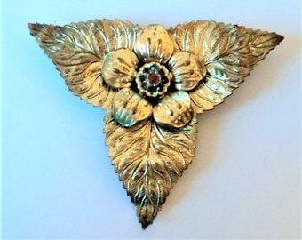 1930s Leaf Dress Clip... Gilt Metal... Repair or Repurpose