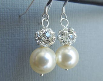 Pearl Wedding Bridal Earrings Ivory swarovski Pearls Sterling Silver Earrings Classic Earrings Pearl Rhinestone Earrings dangle Pearl CLAIRE