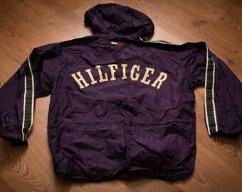 Tommy Hilfiger Athletics Rugby Team Spell Out Jacket, Vintage 90s, Rap Hip Hop Apparel, Like New, Windbreaker, Spell Out Outerwear