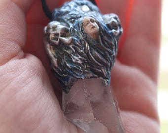 Unique Handmade Sculptured Clear Quartz Crystal Point Polymer Clay Wind and Air Goddess Pendant Pagan Spiritual