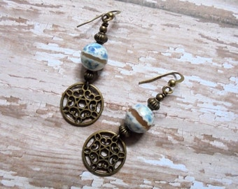 Blue Agate and Brass Boho Earrings (3282)