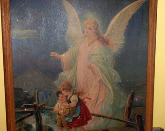Vintage Large Guardian Angel print 2 children on bridge boy and girl 21 by 17 inches