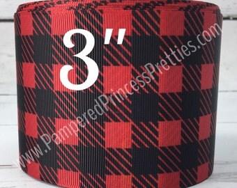 "3yd 3"" Red and Black Plaid Ribbon, Checkered Ribbon"