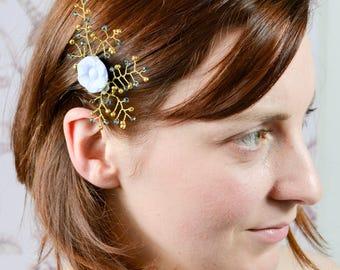 Bridalhaircomb, Hairadornment, Vintagehaircomb, Glasbutton, Flower, Blue, Gold Rocailles,