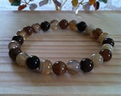 Handmade Gemstone Brown Striped Agate 8mm Bead Bracelet, Strength Protections Bracelet, Stretch Gemstone Jewelry,Colorful Brown Agate Beads