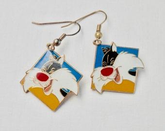 Looney Tunes Earrings Sylvester The Cat Cartoon Character Time Warner Bros. Syndicated Black Cat Tweety Yellow Blue Red Enamel Earrings