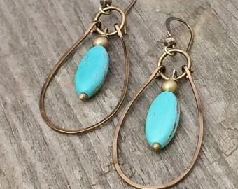Turquoise Earrings, Turquoise Hoop Earrings, Brass Earrings, Dangle Hoop Earrings, Turquoise Jewelry, Brass Hoop Earrings, Brass Jewelry