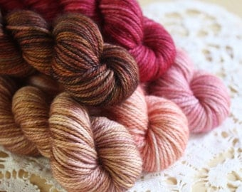 Hand Dyed MCN Mini Skeins / Fingering Weight Yarn / Rosewood Blush Peach Deep Red Redwood Superwash Merino Wool Cashmere Nylon